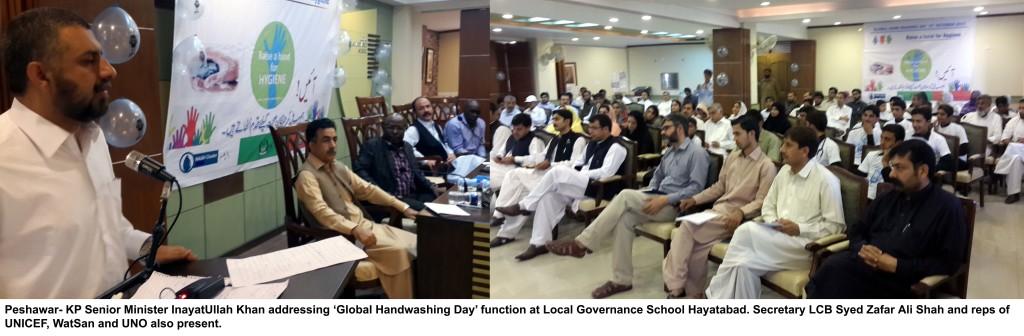 15-10-15-Photo KP Senior Minister InayatUllah Khan addressing 'Global Handwashing Day' function at Local Governance School