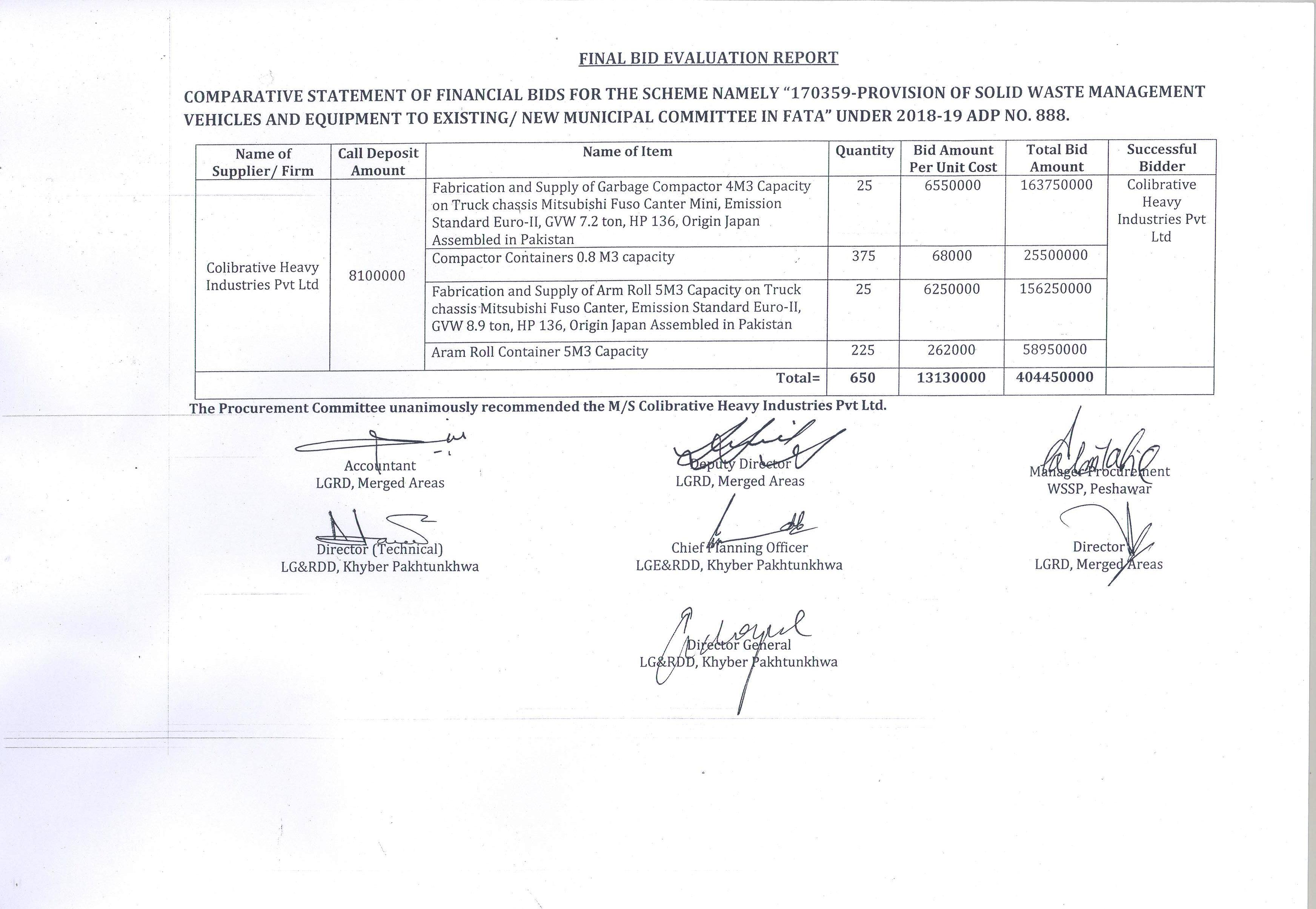 Technical Evaluation Committee Results | Local Government